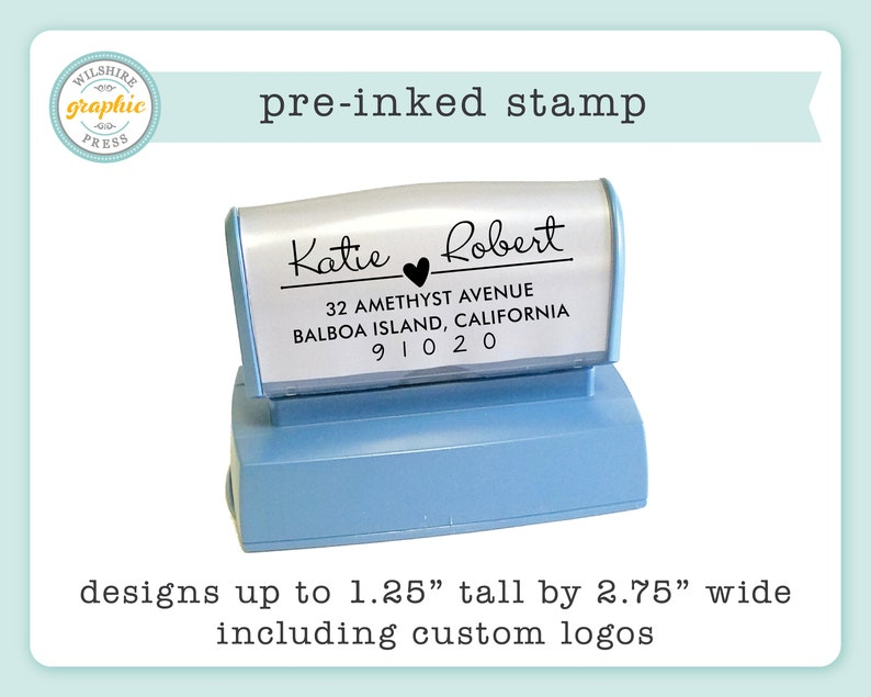 Pre-Inked Stamp  Personalized Stamp  Use for Return Address image 0