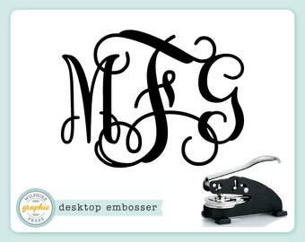 Desktop Embosser - INTERLOCKING MONOGRAM Style - Personalized Monogram Embosser or Extra Plate