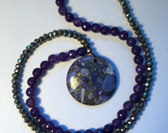Purple and Silver metal stone Necklace