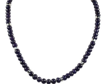Sapphire Necklace, Single Strand Dark Blue Faceted Rondelle Necklace, Sapphire Rondelles, September Birthday, Anniversary