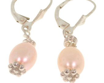 Peach Fresh-water Pearl Drop Earrings, Bridesmaid Gift, Wedding, baroque pearl earrings