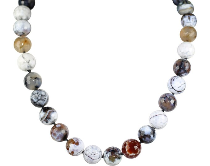 Featured listing image: Faceted Snow Fire Agate Necklace, Fire Agate Necklace, Semi Precious Stone Necklace, boho jewelry