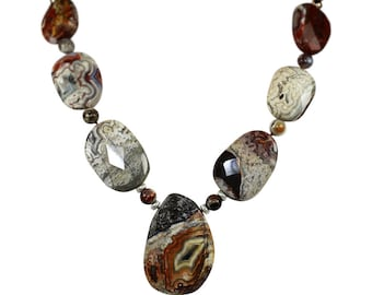 Crazy Lace Agate Necklace, Faceted Mexican Crazy  Lace Agate Necklace, Natural Crazy Lace Agate, Gift For Her and Him