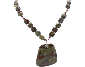 Dragon's Blood Jasper, Dragon's Blood Jasper necklace, Garnet Accents, Gemstone Beads, Round Beads, Natural Stone Jewelry,