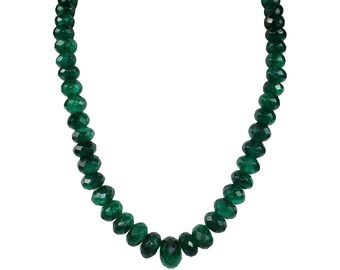 Genuine Faceted Roundel Green Quartz Necklace,  9-18mm graduated faceted roundels