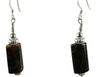 Petrified Wood Earrings, Sterling Silver Fishhooks, Fossil Wood Necklace, Petrified Wood, gift for yogi, boho jewelry, Fossil Stone Jewelry