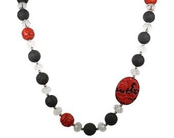 Fire & Ice - Lava Beads. Crystal Quartz roundels, Bohemian Jewelry. Hippie Jewelry, aromatherapy jewelry