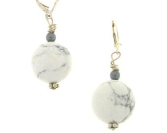Howlite & Hematite Drop Earrings, Healing Necklace, Howlite Necklace, Marble Gemstone Necklace, Boho Jewelry