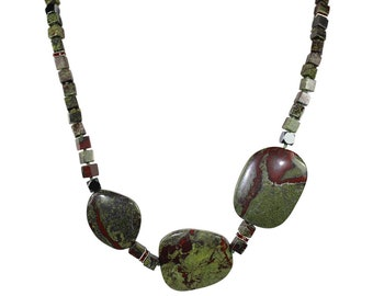Dragon's Blood Jasper Necklace, Dragon's Blood Jasper necklace, Garnet Accents, Gemstone Beads, Round Beads, Natural Stone Jewelry,