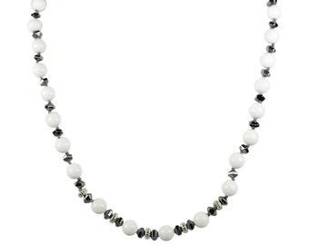 White jade necklace and Hematite Necklace, big bold necklace, gemstone jewelry, italian jewelry, women jewelry