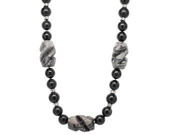 Black Tourmaline and Zebra Jasper Necklace, one of a kind, statement necklace, boho-yoga necklace