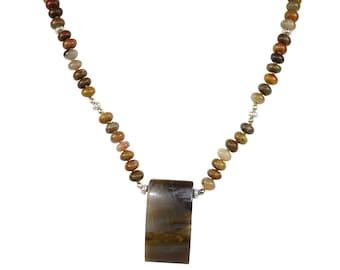 Petrified Wood Necklace, Petrified Wood Pendant, Fossil Wood Necklace, Petrified Wood / gift for yogi / boho jewelry