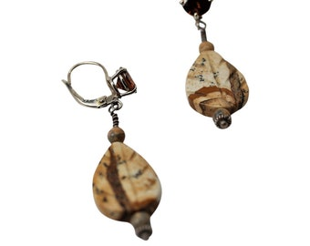 Picture Jasper and Chocolate Brown Zircon Earrings, Picture This, Lever Back Earrings, 14KW, gift for her, 3.82 total carat weight zircons