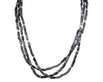 Blue Labradorite & Sterling Silver Bead Necklace