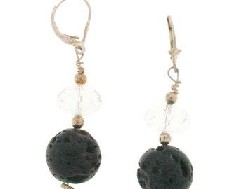 """2"""" Lava Drop  Earrings - Black Earrings, Dangly Earrings, Wedding Earrings, Gift for Her - Black Fire & Ice Drop Earrings"""