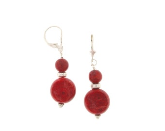 "1.75"" Sterling Silver Red Coral Drop Earrings with 5mm corrugated sterling silver roundels"