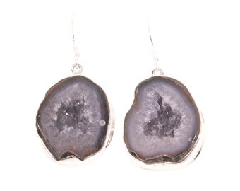 Shepard's Hook Natural Stone Geode Earrings, Stone Earrings, Geode Jewelry, Gemstone Jewelry, Black and Gray Geodes