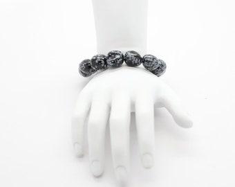 Snowflake Obsidian Stone Polished, Natural Stone Beads, Pebble, unisex stretch bracelet, statement bracelet, stackable bracelet