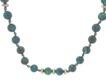 Chrysocolla & Hematite Necklace sterling silver beads, Healing stone, Handmade
