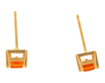 Natural Mandarin Garnet Stud Earrings, 14K Yellow Gold, 1.0 Carat Total Weight, January birthstone