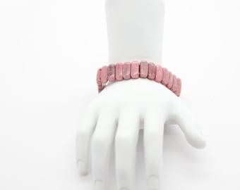 Rhodonite Stretch Bracelet, Jewelry, Stackable Bracelets, Gemstone, Jewelry Gift, Meditation Bracelet, Yoga Jewelry-Stone Stacking Bracelet
