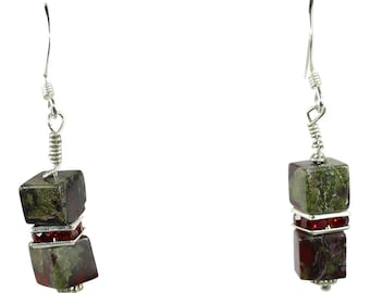 Dragon's Blood Jasper Earrings, Dragon Blood, Dragon Blood Jasper, Gemstone Beads, Round Beads, Natural Stone Jewelry