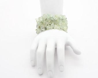 Prehnite Handmade Natural Gemstone Freeform Chip Beads Stretch Bracelet Wide, natural gemstone