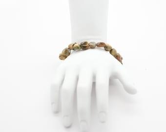 Rainforest Rhyolite, Stretch Pebble Bracelet, Gemstone Jewelry Bracelet, Gift For Her