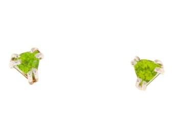 Natural Peridot Stud Earrings, 0.7 total carat weight 14K, white gold / yellow gold, Dainty Gift For Her, Birthstone Jewelry