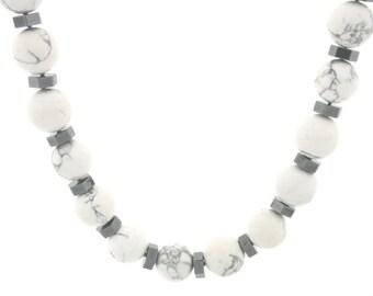Howlite & Hematite Necklace, Healing Necklace, Howlite Necklace, Marble Gemstone Necklace, Boho Jewelry