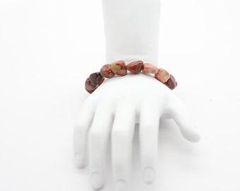 Brecciated Jasper Pebble Bracelet, Stretch Pebble Bracelet, Gemstone Jewelry Bracelet, Gift For Her