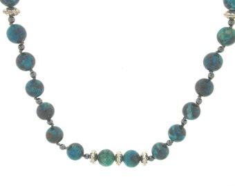 Chrysocolla & Hematite Necklace sterling silver beads, Healing stone, Handmade