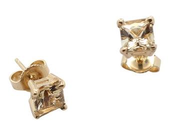 Imperial Topaz Natural Gemstone Earrings, 14K Yellow Gold, November Birthday, Gift for her, Anniversary Gift, Natural Gemstone