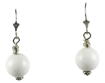 White Jade Drop Earrings, Hand Made with Sterling Silver lever-back, Silver earrings, Dangle Drop Earrings, statement earrings