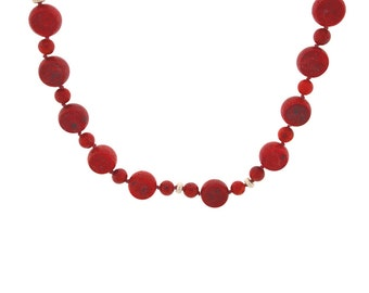 Red Coral Coin Necklace accented with 5mm sterling silver corrugated roundels