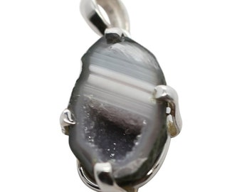 Natural Stone Geode Pendant, Black and Gray Geode Pendant, Geode Jewelry, Gemstone Jewelry