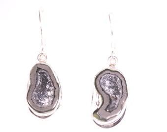 Shepard's Hook Natural Stone Geode Earrings, Stone Earring, Geode Jewelry, Gemstone Jewelry, Black and Gray Geode halves