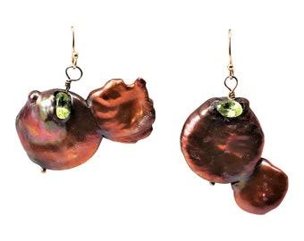 Chocolate Pearls,  Freshwater Coin Pearl Earrings, Peridot Earrings, Rose Gold Shepard Hook Earrings