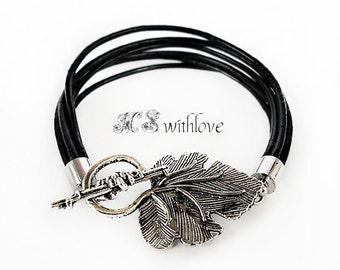 Black Leather Bracelet, Silver Leaf Bracelet, Handmade Cuff Brcelet, Bohemian Black Leather Bracelet,  Multi Strand Leather Bracelet