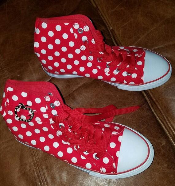 Red White Polka dot apple bottom jeans tennis shoe high tops  d4b613d3bff