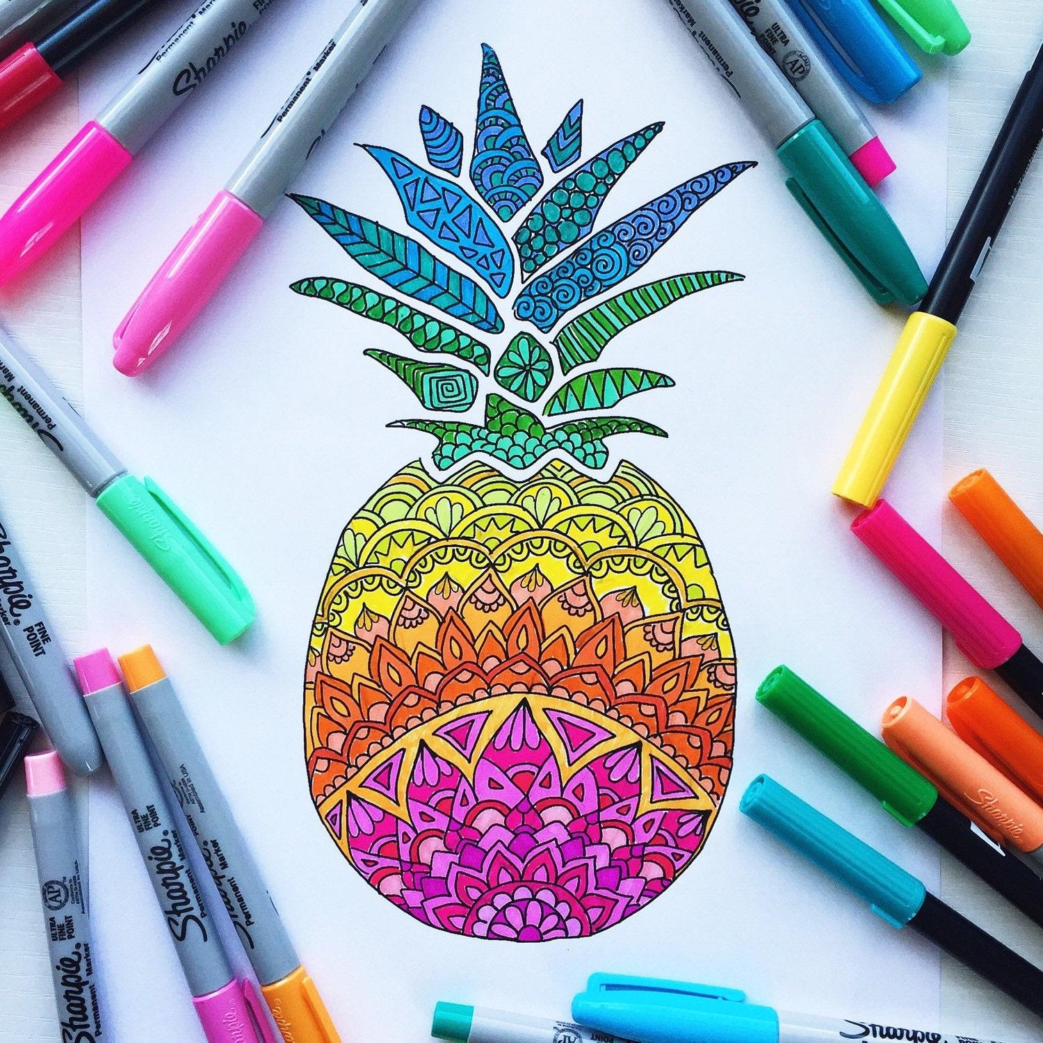 Scaricabili Da Colorare Colorare Adulto Ananas Pagina Pagina Etsy