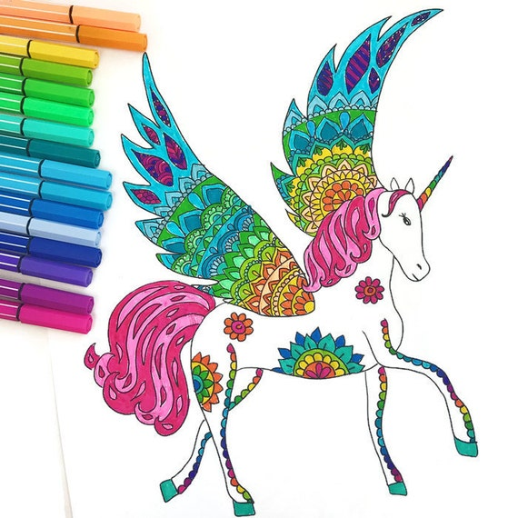 Downloadable Unicorn Coloring Page Adult Coloring Page Etsy