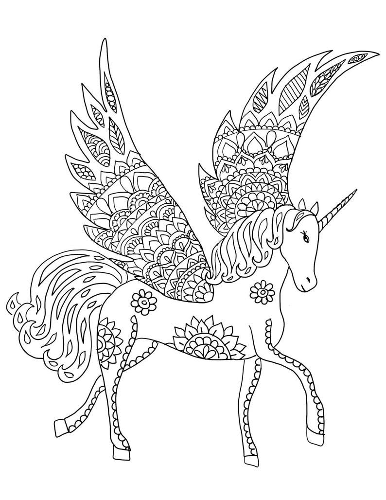 downloadbare unicorn kleurplaat pagina volwassen
