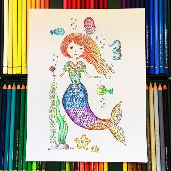 Meerjungfrau Erwachsenen Färbung Seite herunterladen