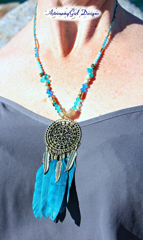 Fantatstic Dream Catcher Feather Pendant Necklace Pretty Retro Chain Neckl.fr
