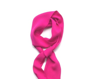 bright pink silk skinny scarf tie 4-ply crepe