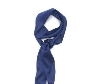 blue skinny scarf in satin silk