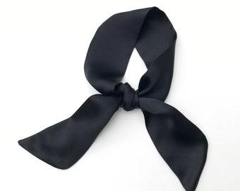 black mini scarf silk charmeuse