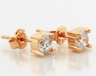 Stud Earring, Earstud, 5mm Cubic Zirconia, Sterling Silver Earring, Modern Earring, Silver Earring, Timelessly Classic Stud Earring, 16x5mm