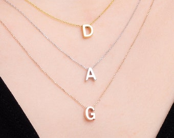 Sterling Silver Initial Necklace / Gold Initial Necklace / Letter Necklace / Christmas Gift / Bridesmaid Gift Necklace